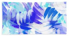 Blue Abstract Paint Pattern Beach Towel