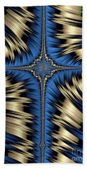 Blue And Gold Cross Abstract Beach Towel