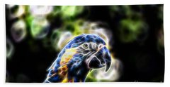 Blue And Gold Macaw V4 Beach Towel by Douglas Barnard