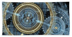 Blue And Gold Mechanical Abstract Beach Sheet by Martin Capek