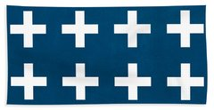 Blue And White Plus Sign Beach Towel