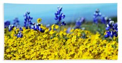 Blue And Yellow Wildflowers Beach Sheet by Holly Blunkall