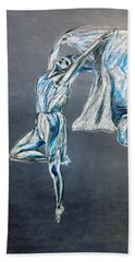 Blue Ballerina Dance Art Beach Sheet by Tom Conway