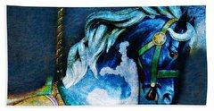Blue Carousel Horse Beach Sheet