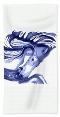 Blue Carrousel Horse Beach Sheet