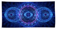 Blue Circle Fractal Beach Sheet by Martin Capek