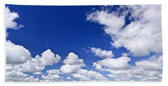 Blue Cloudy Sky Panorama Beach Towel