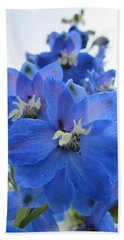Blue Delphinium Rising Beach Towel by MTBobbins Photography