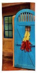 Blue Door And Peppers Beach Towel
