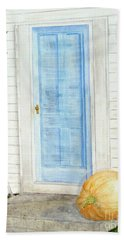 Blue Door With Pumpkin Beach Sheet