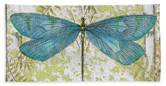 Blue Dragonfly On Vintage Tin Beach Towel