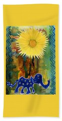Beach Towel featuring the painting Blue Elephant In The Rainforest by Mukta Gupta