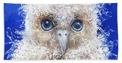 Blue Eyed Owl Painting Beach Sheet by Jan Matson