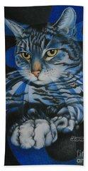 Blue Feline Geometry Beach Sheet by Pamela Clements