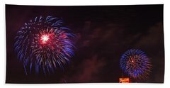 Blue Fireworks Over Domino Sugar Beach Towel