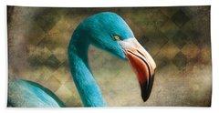 Blue Flamingo Beach Towel by Barbara Orenya