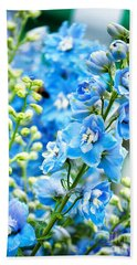 Blue Flowers Beach Towel by Antony McAulay