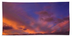Blue Gold Sunrise Beach Sheet by Mark Blauhoefer