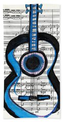 Beach Towel featuring the drawing Blue Guitar Music by Ecinja Art Works