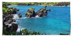 Blue Hawaiian Lagoon Near Blacksand Beach On Maui Beach Towel by Amy McDaniel