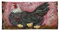 Blue Hen With Chicks Fresco Beach Towel