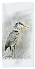 Blue Heron 3 Beach Towel
