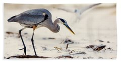 Blue Heron At The Beach Beach Towel