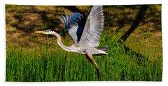 Blue Heron In Flight Beach Sheet