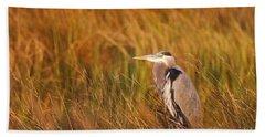 Beach Towel featuring the photograph Blue Heron In Louisiana Marsh by Luana K Perez