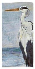 Blue Heron On Blue II Beach Towel