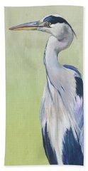 Blue Heron On Green II Beach Towel