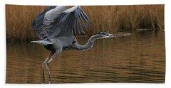 Blue Heron Takes Flight Beach Towel