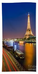 Blue Hour In Paris With The Eiffeltower Beach Towel