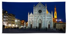 Blue Hour - Santa Croce Church Florence Italy Beach Sheet