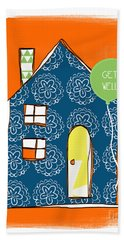 Blue House Get Well Card Beach Towel