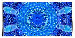 Blue Hydrangeas Flower Kaleidoscope Beach Sheet by Rose Santuci-Sofranko