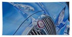 Vintage Blue Jag Beach Towel by Anna Ruzsan