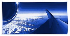 Beach Towel featuring the photograph Blue Jet Pop Art Plane by R Muirhead Art