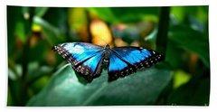 Blue Lit Butterfly Beach Towel