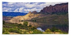 Blue Mesa Reservoir Digital Painting Beach Towel by Priscilla Burgers