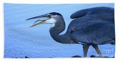Blue Heron Gulp Beach Towel