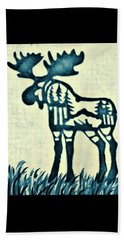 Blue Moose Beach Towel by Larry Campbell