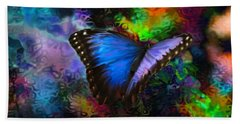 Blue Morpho Butterfly Beach Sheet by Annie Zeno