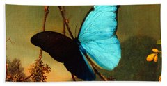 Blue Morpho Butterfly Beach Sheet