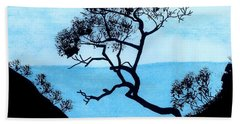 Beach Towel featuring the drawing Blue Mountain by D Hackett