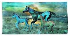 Blue Ocean Horses Beach Towel