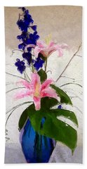 Beach Towel featuring the digital art Blue Orchids In Vase by Anthony Fishburne