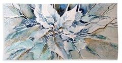 Blue Poinsettia Beach Towel