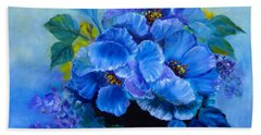 Beach Towel featuring the painting Blue Poppies by Jenny Lee