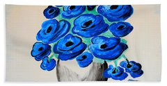 Blue Poppies Beach Sheet by Ramona Matei